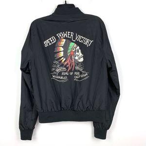 Ring Of Fire Mens Windbreaker Jacket Skull Black